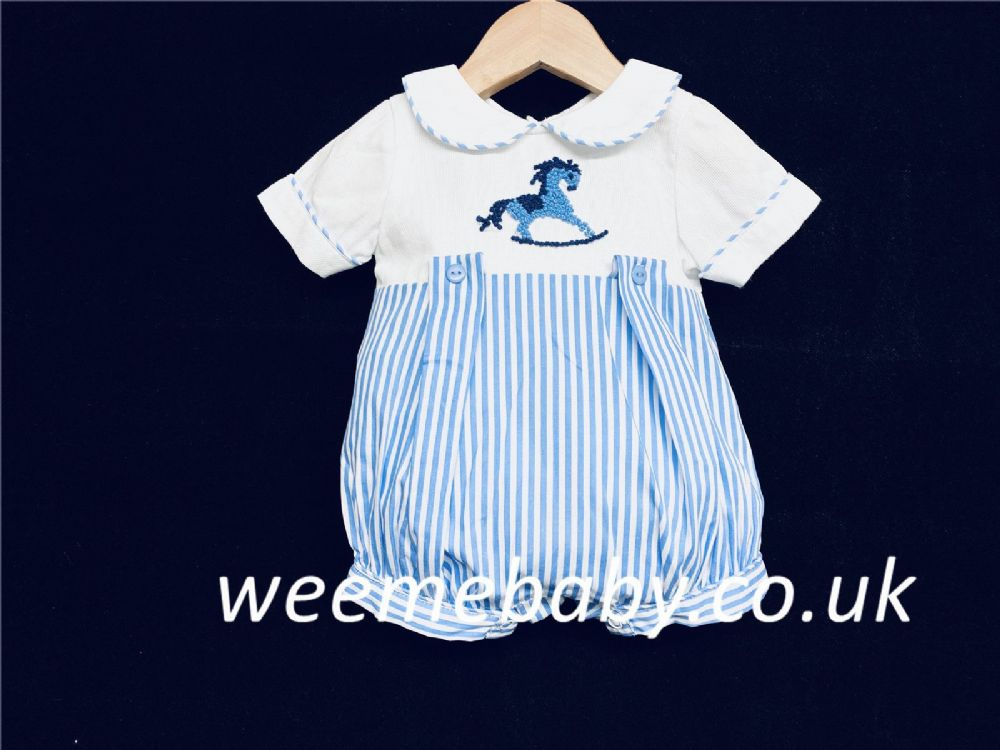 *SALE* Baby Boy Blue Stripe Romper Rocking Horse